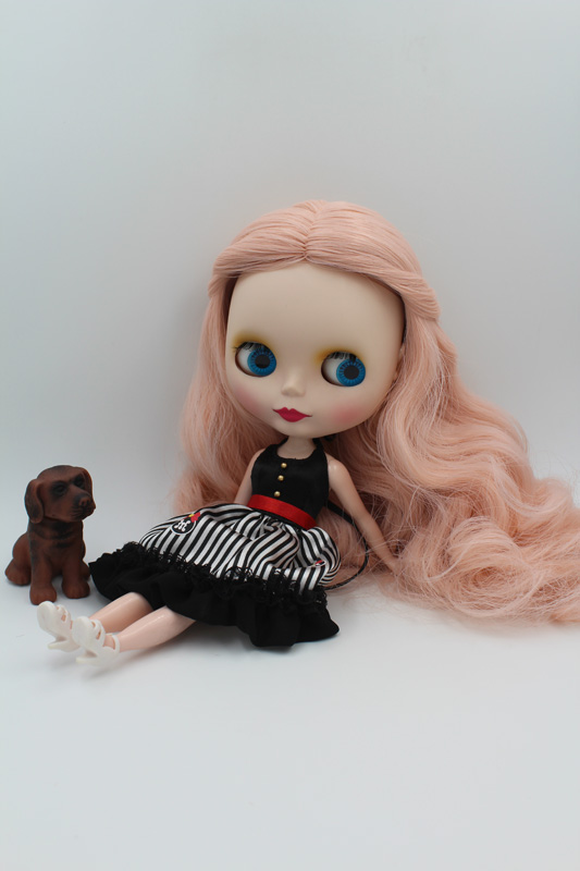 Free Shipping BJD joint RBL-243M DIY Nude Blyth doll birthday gift for girl 4 colour big eyes dolls with beautiful Hair cute toy free shipping transparent rbl 197t diy nude blyth doll birthday gift for girl 4 colour big eyes with beautiful hair cute toy