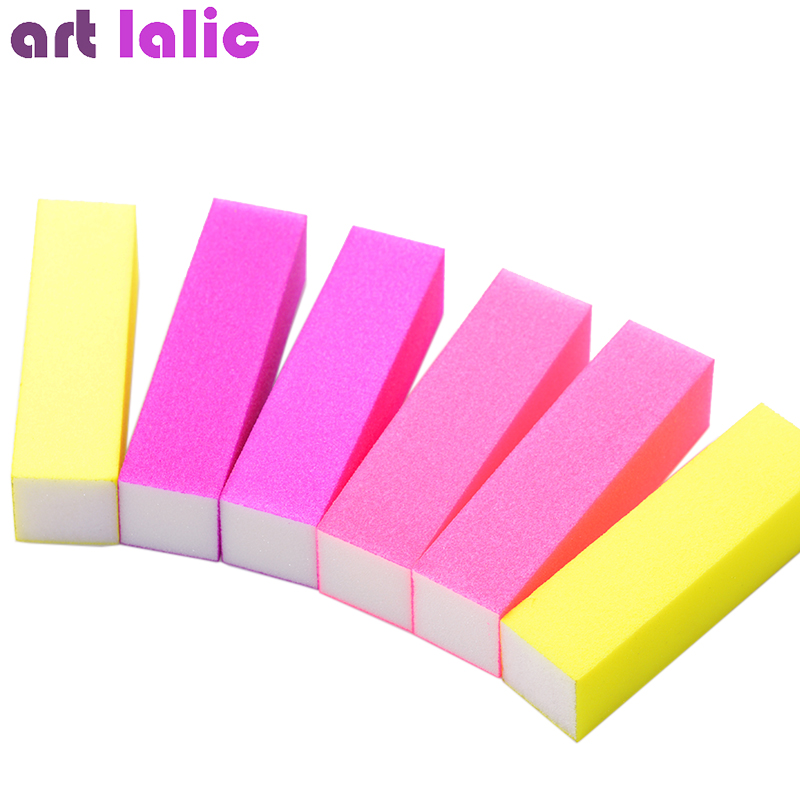 6pcs/lot Hot Nail Buffer Block Neon Color Buffing Sanding Buffer Files Manicure Nail Art Tips Women Beauty Manicure Tools