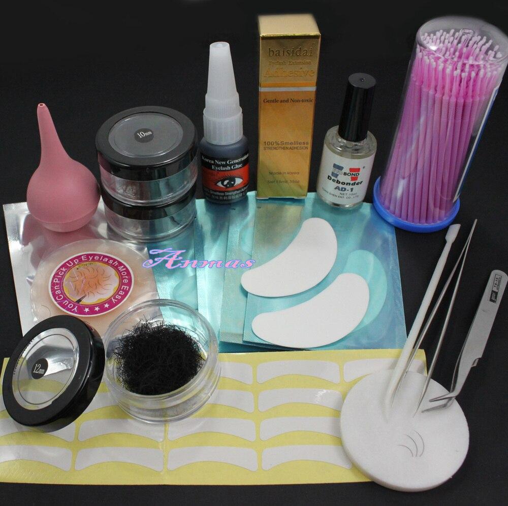 3 Box False Individual Extension Eyelash Glue Remover Swab Tape Tweezer Tool Set