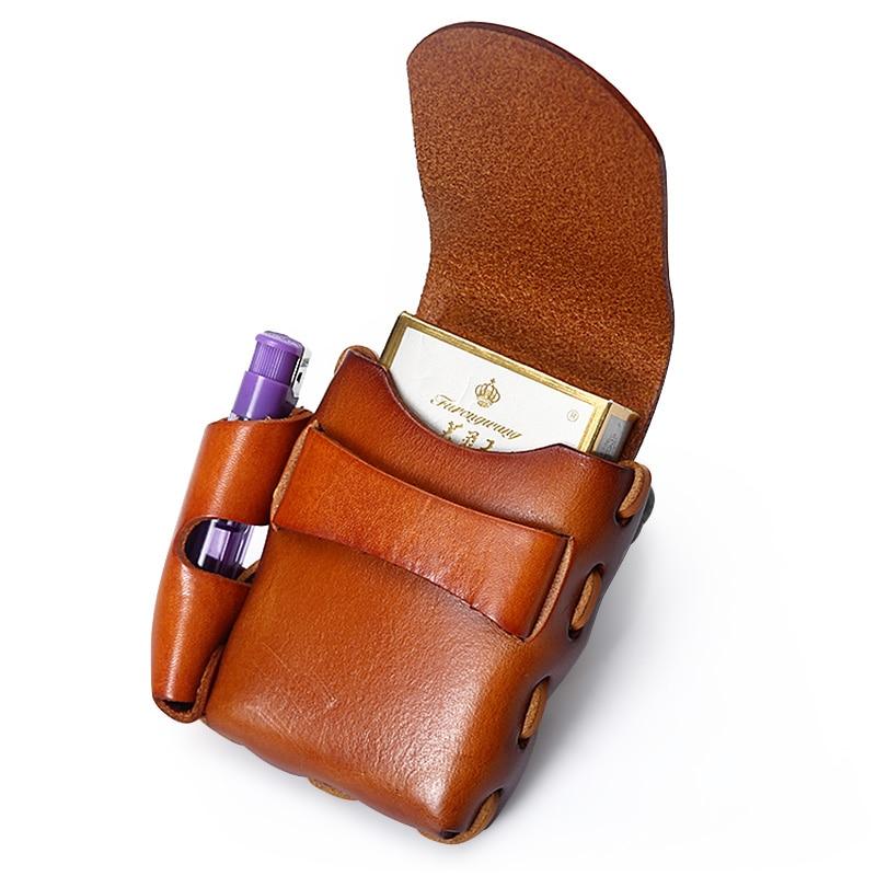 Ruil Casual Retro Men Belt Small Waist Bag Amekaji Handmade Cow Leather Cigarette Case Bags Cowhide Multi-functional new handbag