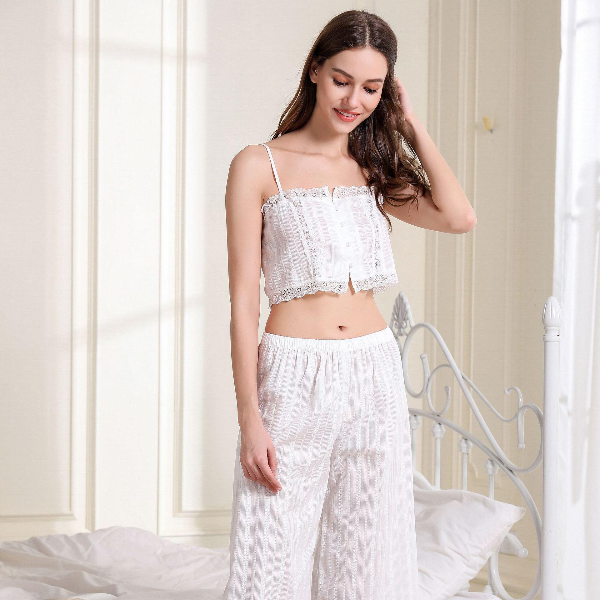 White Women/'s Nightwear Shorts Super Soft High Waist Lace Hem Hot Pants