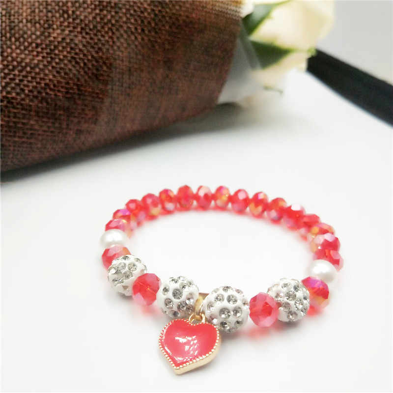 2019 Crystal Beautiful Bracelet & Bangle Elastic Heart Bracelets For Women Handmade colors crystal pearl Beads jewelry