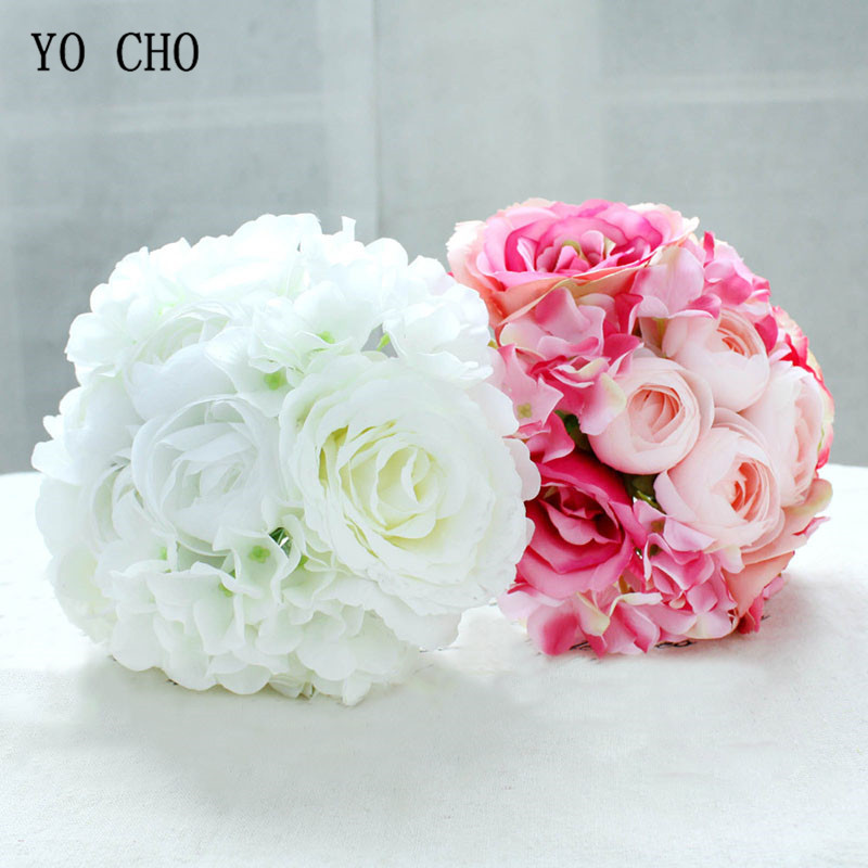 YO CHO Wedding Bouquet Silk Pink Roses Hydrangea Peony Flower Artificial Wedding Bouquet For Bridesmaid Bridal Marriage Supplies