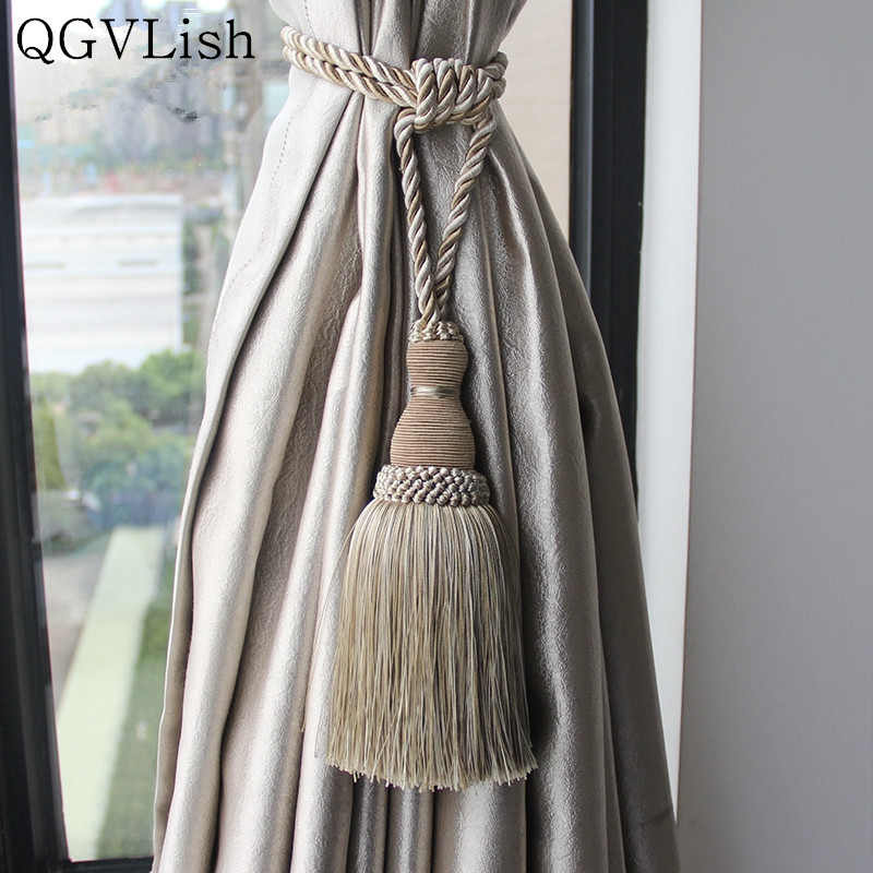 QGVLish 2Pcs Curtain Tiebacks Tassel Fringe Ropes Hanging Belt Brush Curtain Buckles Clasp Clips Curtain Accessories
