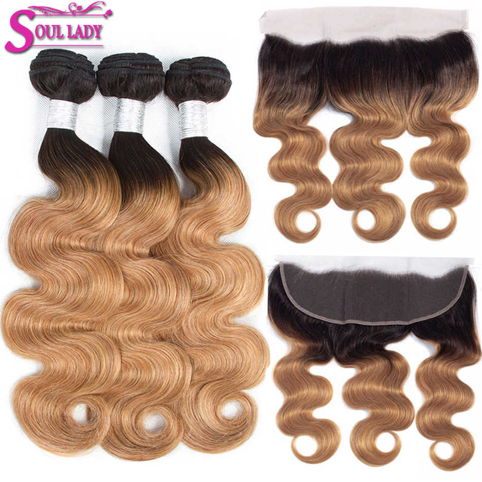 Soul Lady Ombre Bundles with Frontal Peruvian Body Wave With Frontal Remy Human Hair Blonde Bundles With Lace Frontal Closure