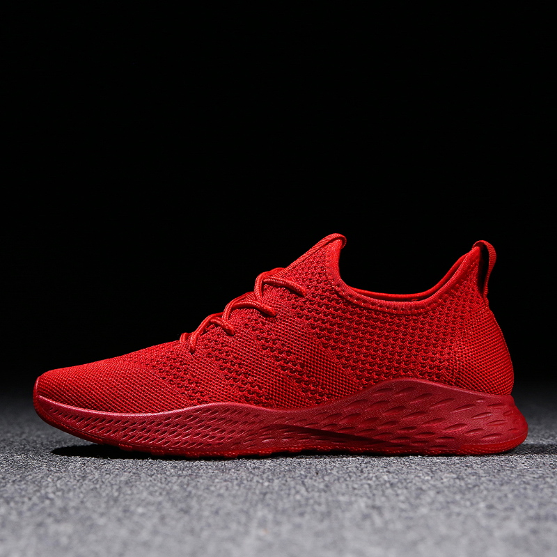 Men's Casual Shoes Breathable Men Sneakers High Quality Comfortable Non-slip Red  Black Gray Walking Shoes 2018 Summer New