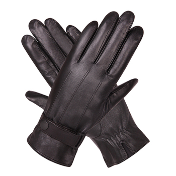 Leather Gloves Man Winter Plus Velvet Thicken Keep Warm Windproof Touch Screen Driving Genuine Leather Gloves Male M18005NC-9 leather gloves female autumn winter keep warm plus velvet thicken touch screen sheepskin genuine leather woman gloves l18011nc 9