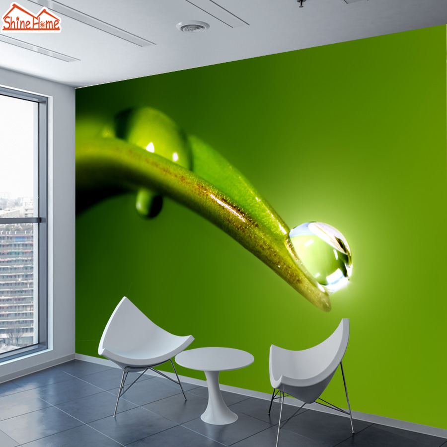 ShineHome-Customized Wallpaper Dew on Leaf Abstract Green Wall Murals Paper Picture Wallpapers for 3d TV Living Room Bedroom