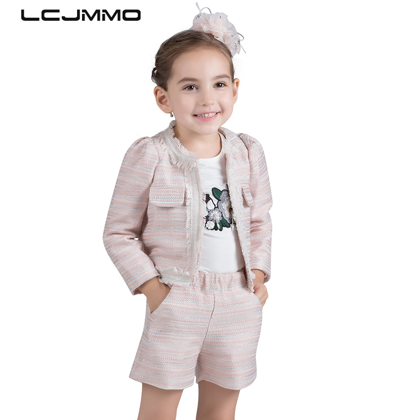 LCJMMO  2017 European and American style Winter Suits For Girls Children Clothing Sets Long Sleeve Kids Coat jacket+Shorts 2PCS new next fall girls graffiti sets european and american style printing zipper cardigan cartoon princess hot sale children s sets