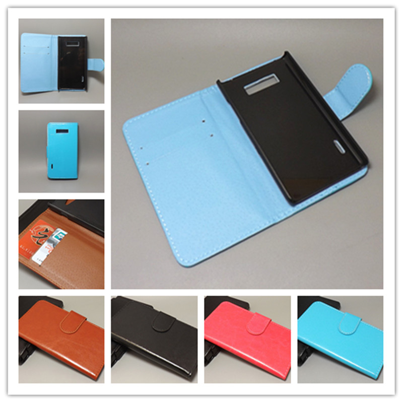 Crazy horse wallet case hold two Cards with 2 Card Holder and pouch slot for LG Optimus L7 P705 p700