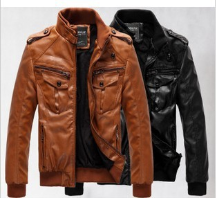 New Men's leather jacket coat thickness and velvet man leather male cultivate one's morality locomotive coat/large wholesale