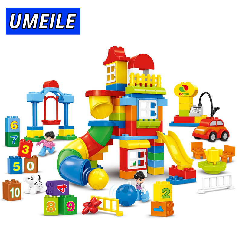 UMEILE 130PCS Building Block Amusement Park Educational Number Slide DIY Brick Kids Toys Compatible With duplo Gift umeile brand farm life series large particles diy brick building big blocks kids education toy diy block compatible with duplo