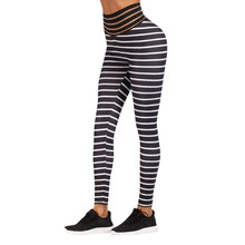 Лучший!  Женские сексуальные полосатые леггинсы для тренировок Спортивные штаны Спортивные штаны для бега