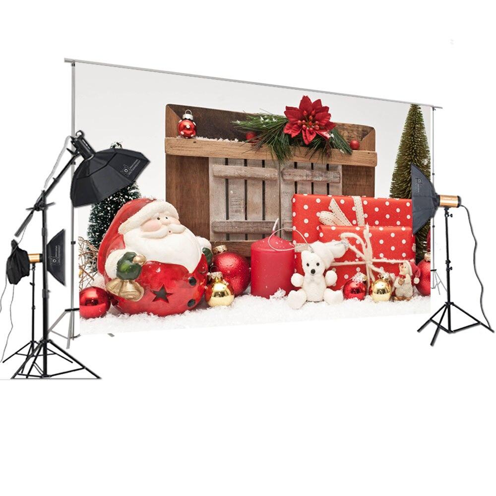 HUAYI Photography Backdrop Christmas Photo Background for Studios Christmas Gifts Tree Father Christmas Wood XT-7203