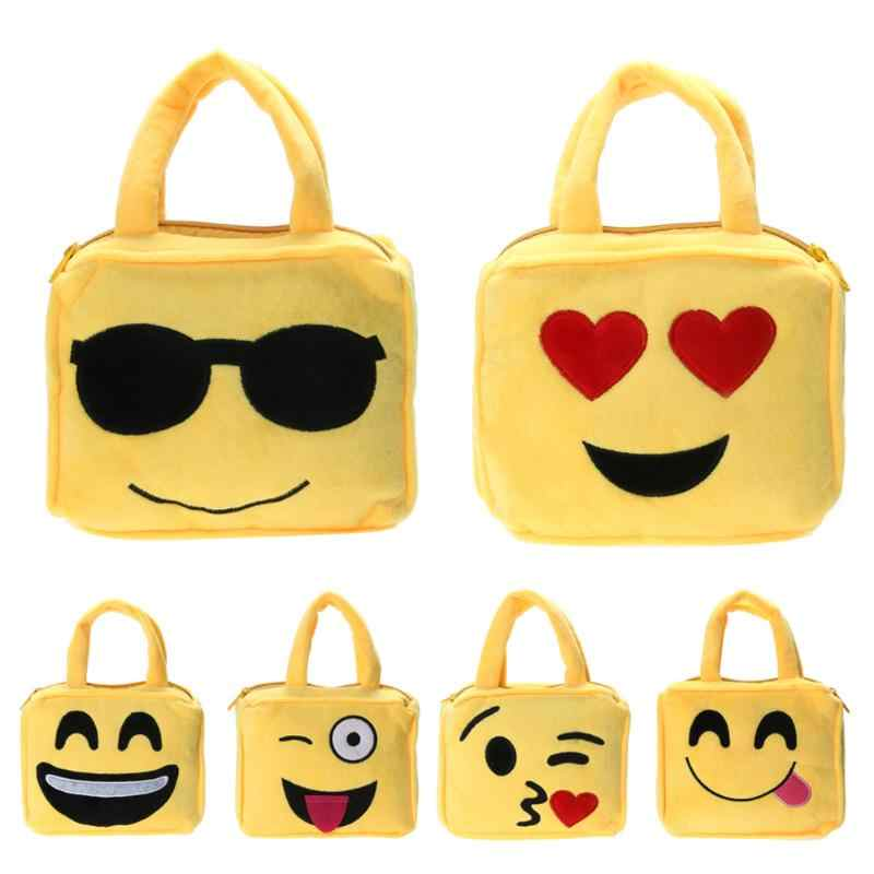90b34d50bfbb Fashion Emoji Face Expression Plush Toy Children Backpacks School Bag Kids  Toys Handbag with Shoulder Belt