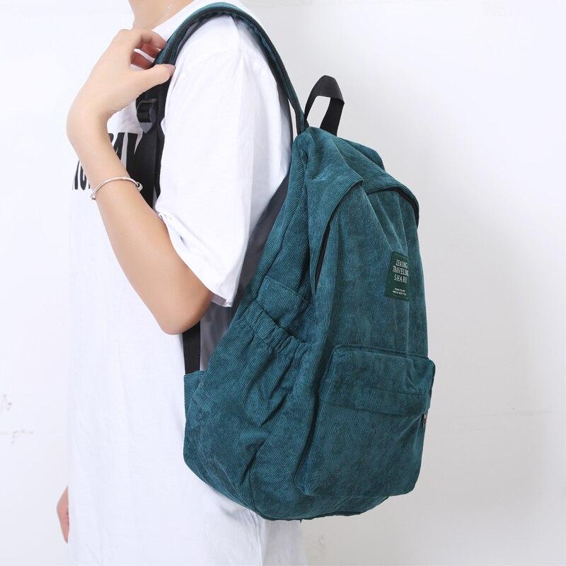 HTB1K0ZsJr2pK1RjSZFsq6yNlXXa3 Women Striped Corduroy Backpack Female Eco Simple Cloth Bag Large Capacity Vintage Travel Bags School Backpack for Teenage Girls
