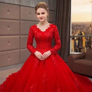 Image 5 - Vestido De Noiva 2019 New Mrs Vincere Il Rosso Sexy Del Manicotto Pieno Con Scollo A V Cappella Treno Abito di Sfera Della Principessa Da Sposa Depoca abiti F
