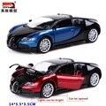 Paquete de regalo modelo de coche 1:32 aleación bugatti veyron classic sports toys para niños de sonido y la luz de nuevo a la