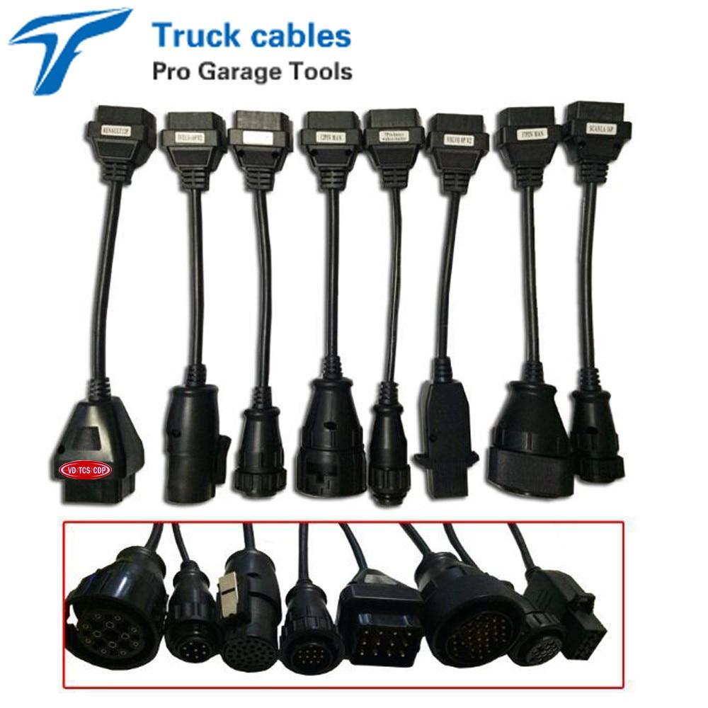 Prix pour Ensemble complet 8 Câbles De Camion OBD2 OBD OBDII OBD 2 Câble de Connexion Pour vd De Diagnostic TCS CDP Pro