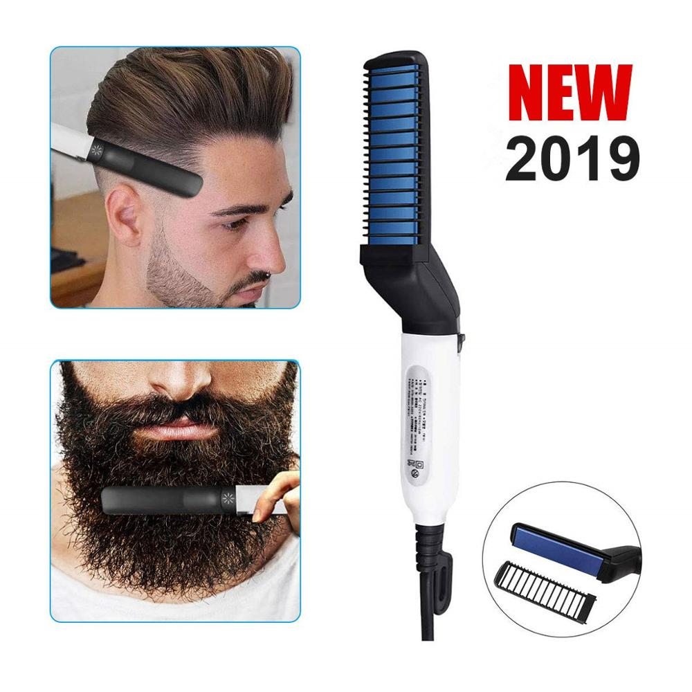Hair Curling Iron Men's 2 In 1 Ceramic Hair Styling Iron Comb Beard Straightener Curler Set Quick Hair Styler For Men