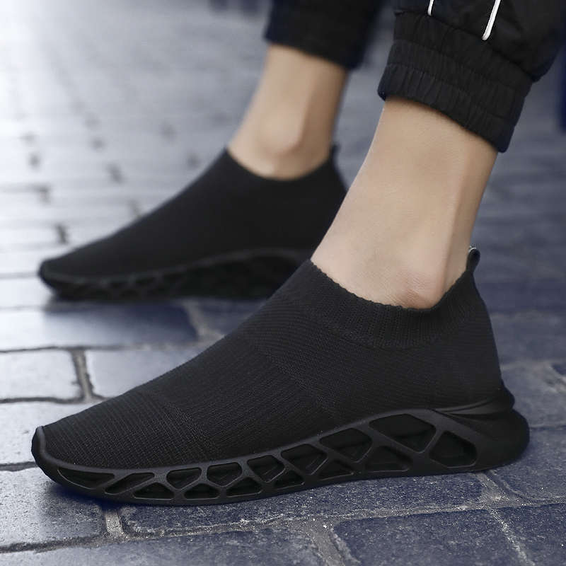 Sneakers Black Loafers Socks Light Flat-Shoes Breathable Mesh Comfortable Slip-On White