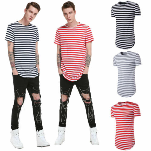 New Fashion Hot Sale Men Striped Short Sleeve O-neck T-Shirt White Casual T Shirt for Men Loose Comfortable Tee Tops S-L