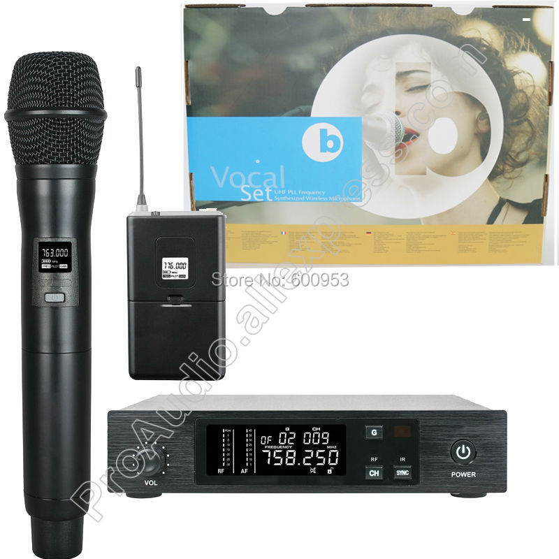 MICWL Stage Performance Vocal UHF Synthesized Set Wireless Microphone System with Headset Lavalier Instrument and Guitar line professional vocal set wireless microphone system for crystal clear sound with range of 80 meters l 706