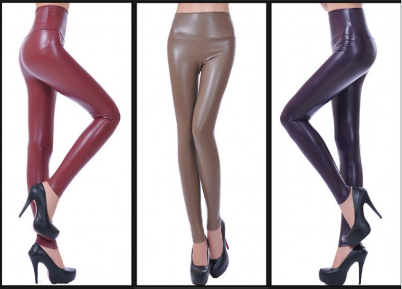 Womens PU Leather Pants High Elastic Waist Leggings Not Crack Slim Leather Leggings Fleece Trousers Women Fashion F80 21