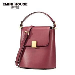 Image 2 - EMINI HOUSE Padlock Bucket Bag Female Crossbody Bags For Women Split Leather Solid Color Luxury Handbags Women Bags Designer