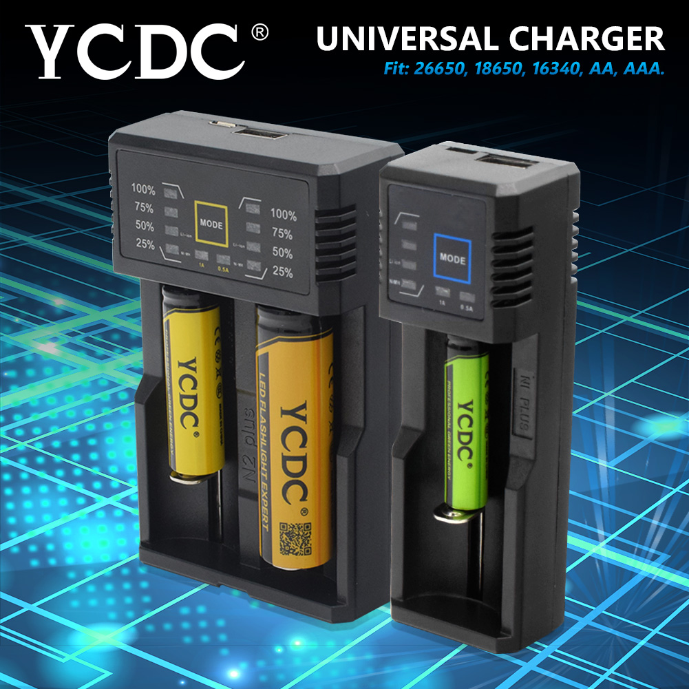 YCDC USB Intelligent Battery Charger with Power Bank Function for Ni-MH Lithium for 18650 26650 18500 14500 AA AAA Rechargeable