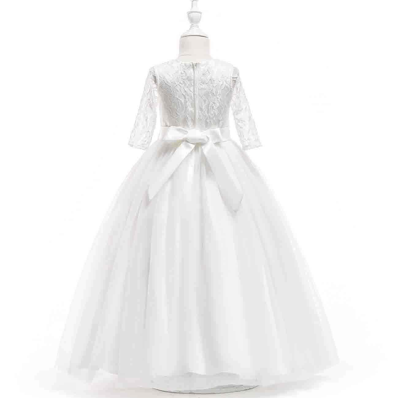 19 jahre Mädchen Kleider Hochzeit Halbe Hülse Lange Weiß Mädchen Vestido 19  19 19 19 19 119 Jahre Alte Kinder kleidung Sommer 19 RKF119190191