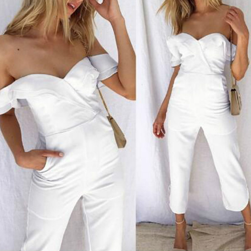 Spring Zipper Sexy Women Jumpsuit Off The Shoulder Wrinkle Ruffles Backless Overalls Office Lady Summer Jumpsuit Plus Size GV708