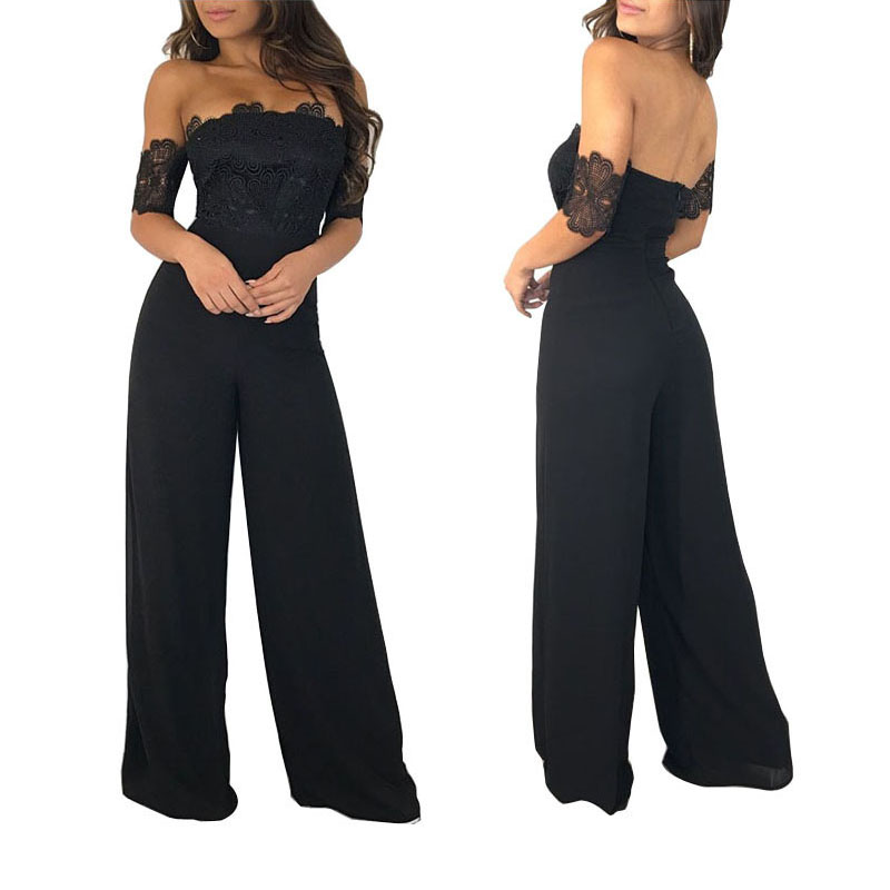 Sexy Strapless Off Shoulder Black Lace Jumpsuit Women Slash Neck Elegant Short Sleeve Overalls Wide Leg Pants Summer Romper