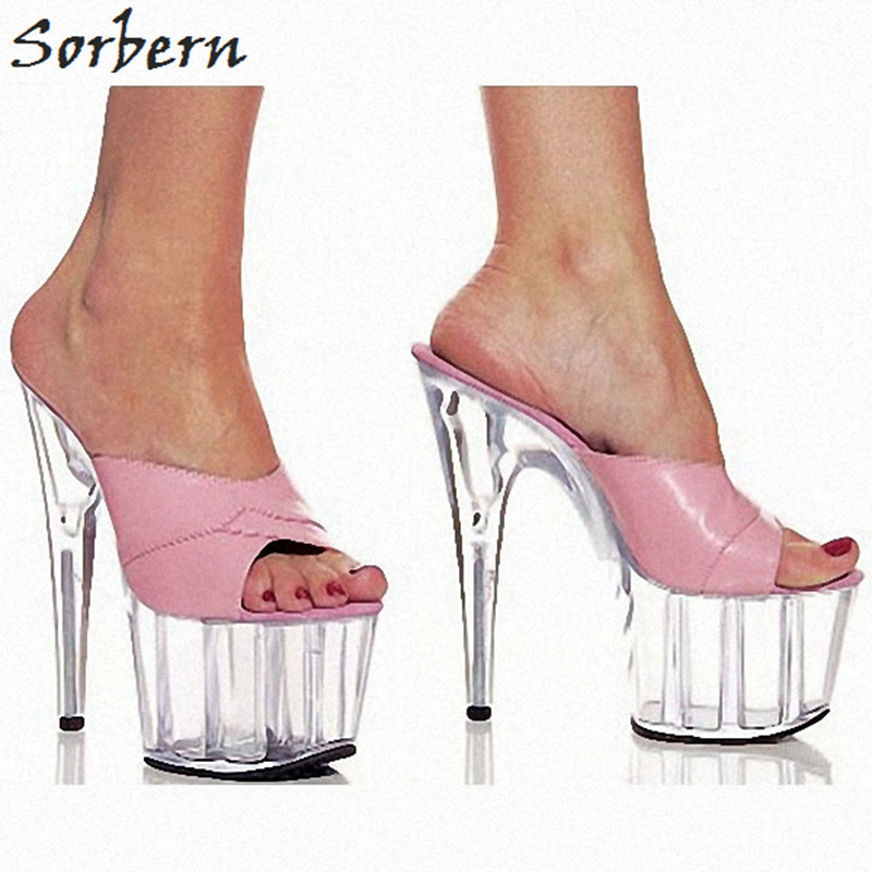 Sorbern Sweet Pink Clear High Heels 15cm/5cm Platform Women Slippers Summer 2018 New Shoes Slides Women Open Toe Slippers цена 2017