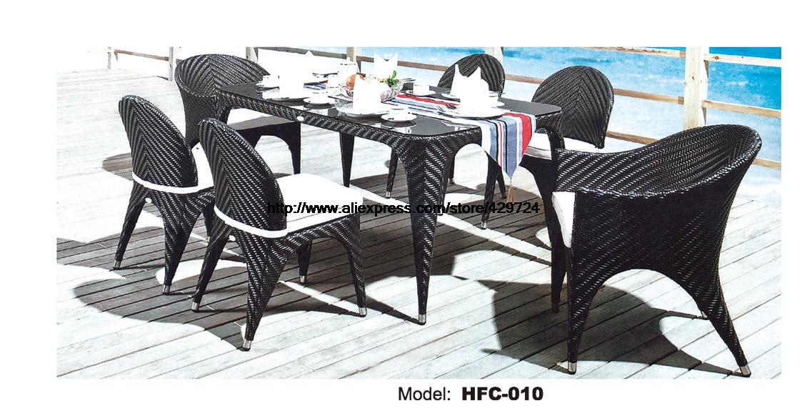 все цены на  Promotion Rattan Amrest Chair No-Armrest Chair Table Combination Garden Wicker Chairs Set Hot Sale Outdoor Rattan Furniture  в интернете