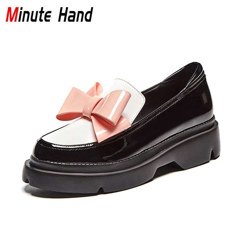 Minute Hand 2018 New Fashion Woman Genuine Leather Flat Platform Shoes Round Toe Slip On Bowknot Casual Shoes For Ladies Flats czrbt women flat shoes new arrive genuine leather round toe slip on flat platform shoes woman casual flats army green black