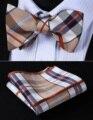 Bolso Quadrado Partido Clássico Casamento BC903ZS Bege Marrom da Verificação Homens Gravata Borboleta de Seda Auto Gravata Gravata conjunto lenço