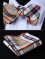 Pocket Square Classic Party Wedding BC903ZS Beige Brown Check Bowtie Men Silk Self Bow Tie handkerchief set
