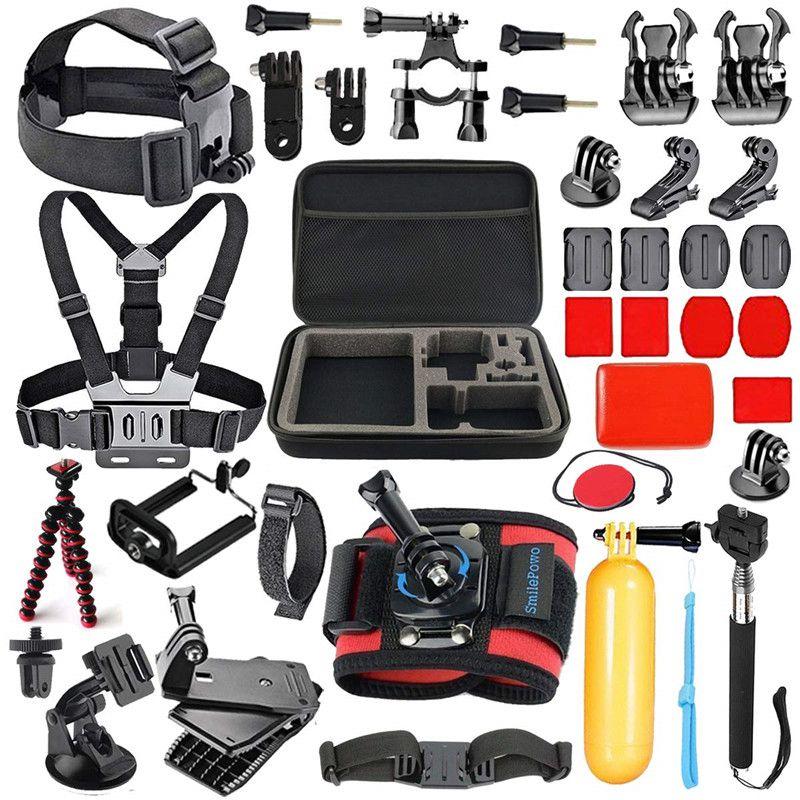 42 en 1 caméra Sport accessoires Kit sangle de tête poitrine montage voiture ventouse poignée flottante poignée poignée pour GoPro Hero 7 caméra d'action