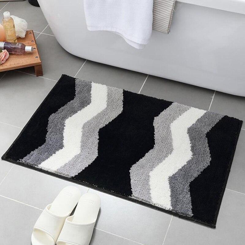 Simple Geometric Pattern Rug Thick Flocking Door Mats Home Bedroom Bathroom Carpet Absorbent Non slip Doormat Kitchen Floor Mat in Rug from Home Garden