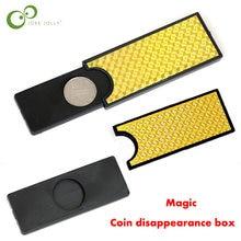 Moeda desaparecendo caixa mágica adereços criativos enigma crianças brinquedo mágico estágio adereços mágico profissão fácil de fazer presentes das crianças lyq