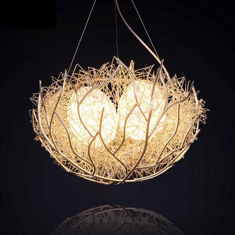 2016 Newest E27 Bird Nest Pendant Light Novelty creative bar Pendant lamp Aluminum Wires lamp Living room Bedroom Light best price nest aluminum chandelier lamp bar bedroom balcony moon and stars decorative lighting childrens room light