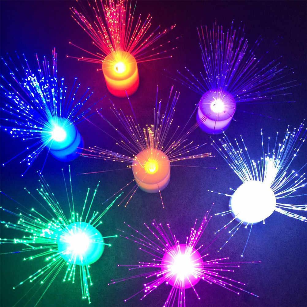 1 pieza romántica de Color cambiante LED de fibra óptica de luz nocturna de juguete con batería pequeña Luz de decoración de fiesta de navidad
