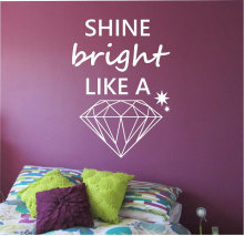 Special Design Wall Decal Quotes Shine Bright Like A Diamond Pattern Stars Stickers Vinyl Removable Bedroom Art MuralSYY800