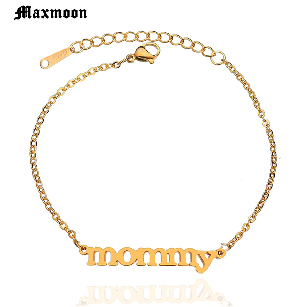 Chain & Link Bracelets Sporting New Delicate Mommy Letter Stainless Steel Charm Bracelets For Women Mom Gold Silver Mothers Day Family Bracelet Jewelry
