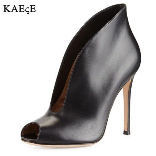 ¡oferta Profundo V As Tacón De Zapatos Piel black Escote Alto Mujer Para Mujer Show En Botines as Vestir Ante Con Leather Show A Moda La rfO4Hrq