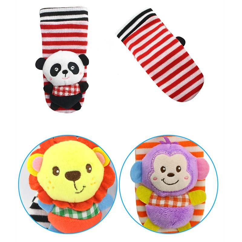 1 Pair Panda Cute Kids Newborn Infant Baby Rattle Socks Rattles Soft Toys Baby Bed Toy Cartoon Animal Monkey Elephant Toy P25