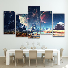 Home Decor Canvas Mountains And Space Painting Set Planet Snow Lake Galaxy Poster Framework