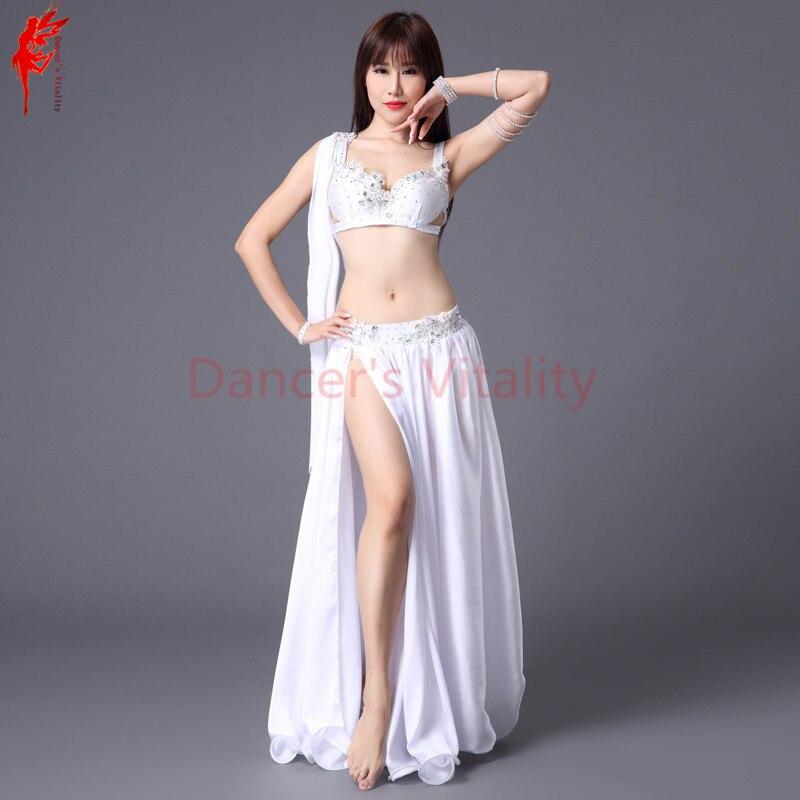 Women performance show belly dance set bra top+skirt 2pcs Stones crystal  belly dance suits a6ba0f5daf9c