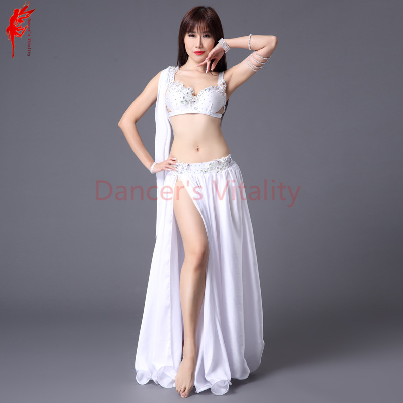 Women Performance Show Belly Dance Set Bra Top+skirt 2pcs Stones Crystal Belly Dance Suits! Girls Belly Dance Clothes B/C Cup